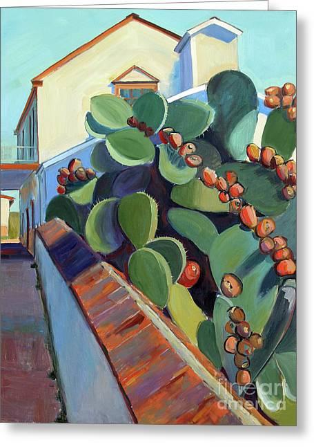 San Juan Bautista Prickly Pear Greeting Card by Sandra Smith-Dugan
