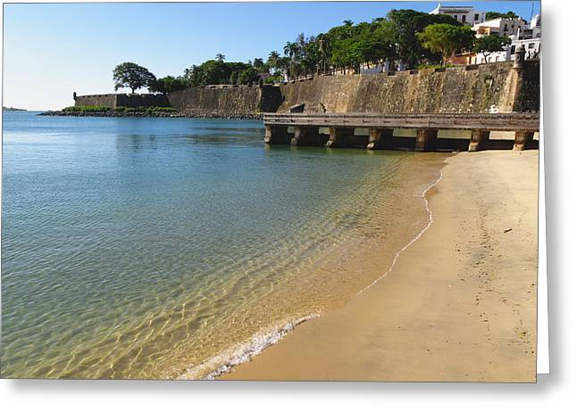 Puerto Rico Greeting Cards - San Juan Bay with the City Walls  Greeting Card by George Oze