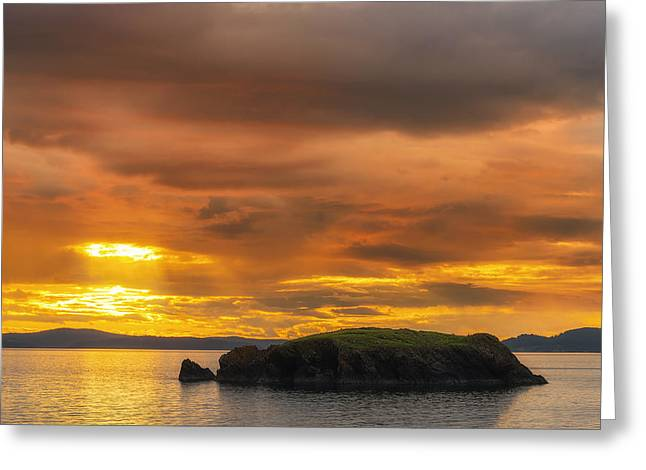 Deception Beach Greeting Cards - San Juan Islands Golden Hour Greeting Card by Ryan Manuel
