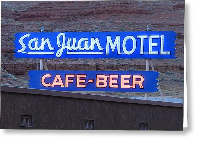 San Juan Motel Sign Greeting Card by Troy Montemayor