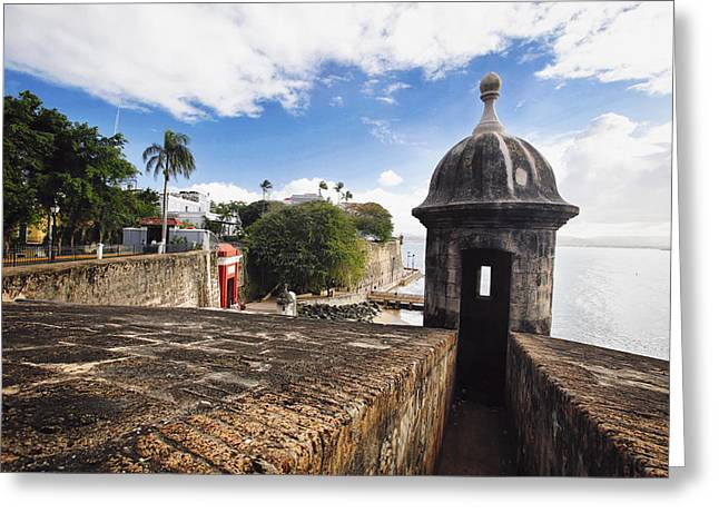 Puerto Rico Greeting Cards - San Juan Sentry Post  Greeting Card by George Oze