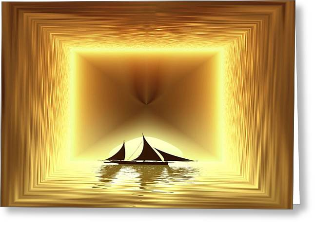 Yellow Sailboats Greeting Cards - San Juan Silhouette Greeting Card by Tim Allen