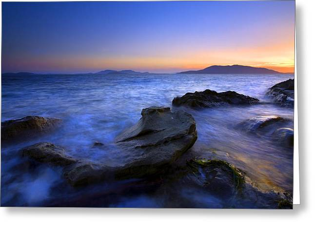Sunset Seascape Greeting Cards - San Juan sunset Greeting Card by Mike  Dawson