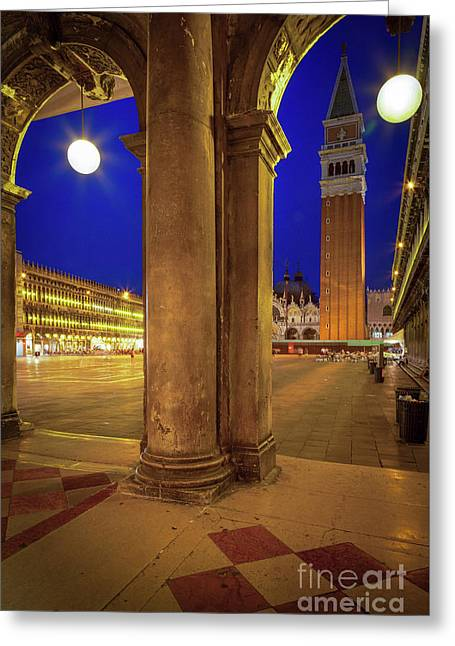San Marco At Night Greeting Card by Inge Johnsson