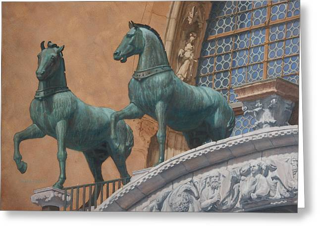 San Marco Horses Greeting Card by Swann Smith