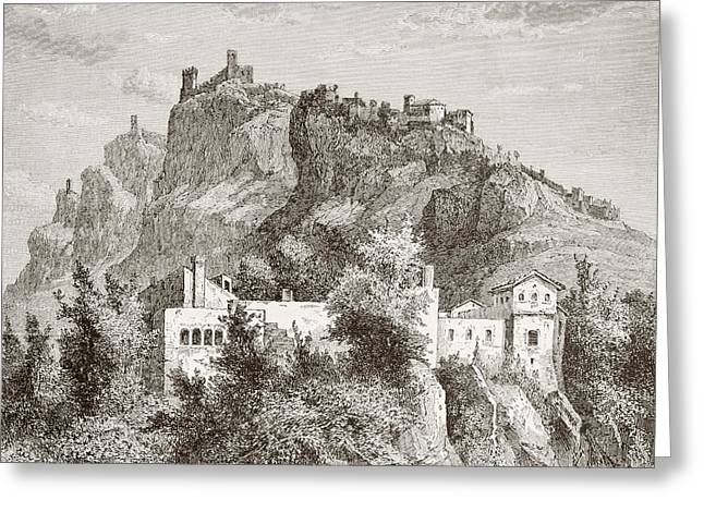 Most Drawings Greeting Cards - San Marino In The Late 19th Century Greeting Card by Ken Welsh