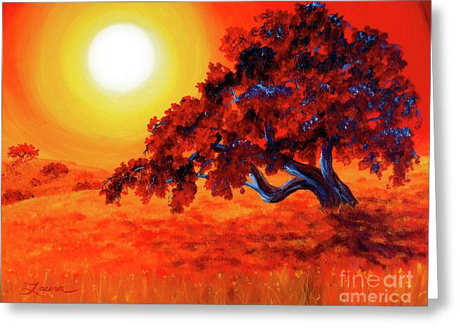Alto Greeting Cards - San Mateo Oak in Bright Sunset Greeting Card by Laura Iverson