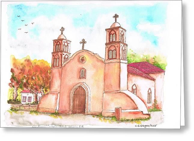 San Miguel Catholic Church, Socorro, New Mexico Greeting Card by Carlos G Groppa