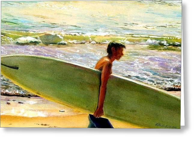Surfing Art Greeting Cards - San O Man Greeting Card by Kathy Dueker