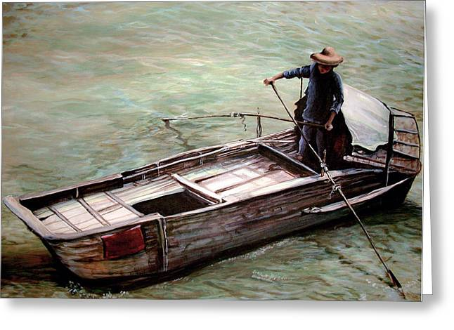 Boats In Water Drawings Greeting Cards - San pan on Yellow River Greeting Card by Laura Ury