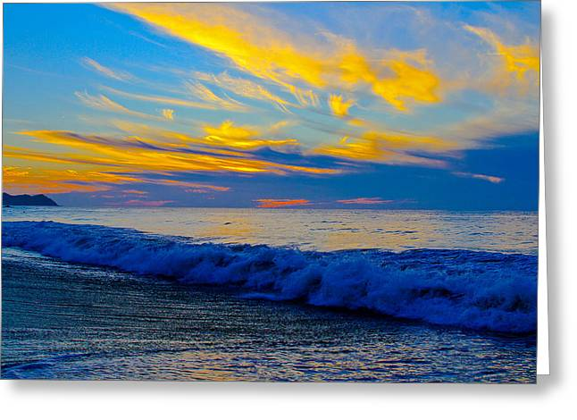 San Pancho Sunset Greeting Card by Atom Crawford