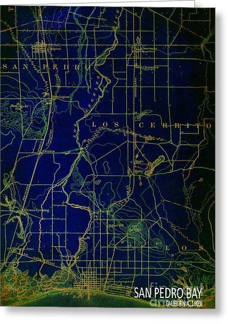 Classic Hollywood Mixed Media Greeting Cards - San Pedro Bay 1899 Map Greeting Card by Pablo Franchi