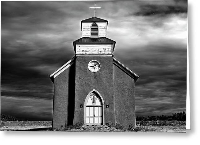 San Rafael Mission Church, La Cueva, New Mexico, Illiminated By  Greeting Card by Mark Goebel