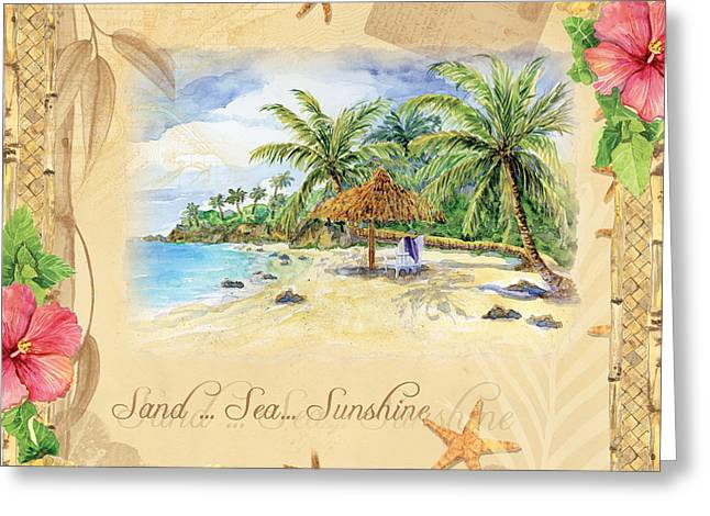Sand Sea Sunshine On Tropical Beach Shores Greeting Card by Audrey Jeanne Roberts