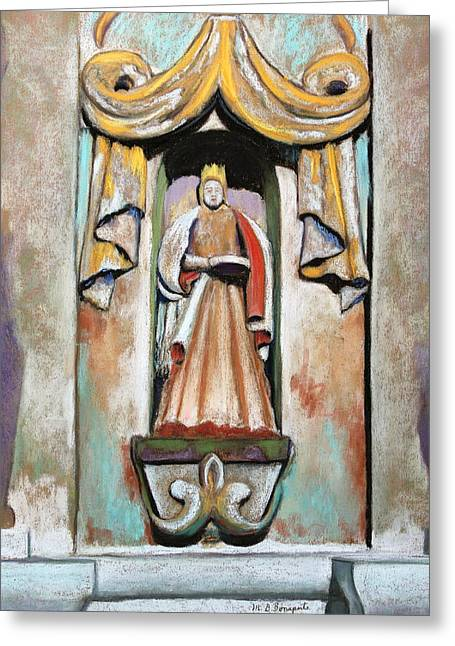 Stones Pastels Greeting Cards - San Xavier Statue Greeting Card by M Diane Bonaparte