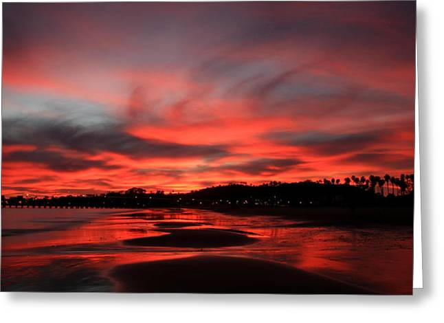 Ocean. Reflection Greeting Cards - Sand and Sky on Fire Greeting Card by Bill Keiran