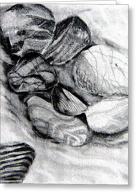 Graphite Pastels Greeting Cards - Sand and Stone Greeting Card by Mindy Newman