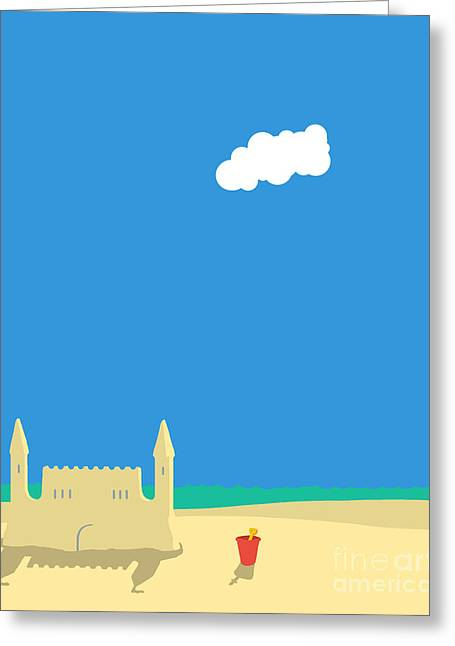 Sun Of Beach Drawings Greeting Cards - Sand Castle Greeting Card by Peter Beckley