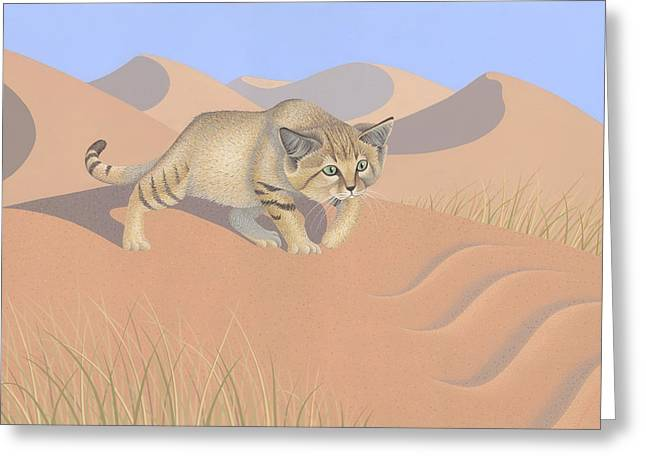 Sand Dunes Paintings Greeting Cards - Sand Cat Greeting Card by Nathan Marcy