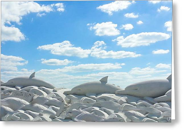 Sand Castles Greeting Cards - Sand Dolphins at Siesta Key Beach Greeting Card by Susan Molnar