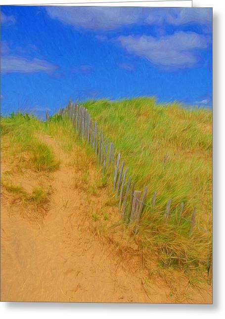Warm Tones Greeting Cards - Sand Dune And Wooden Fence Greeting Card by Paul Bucknall