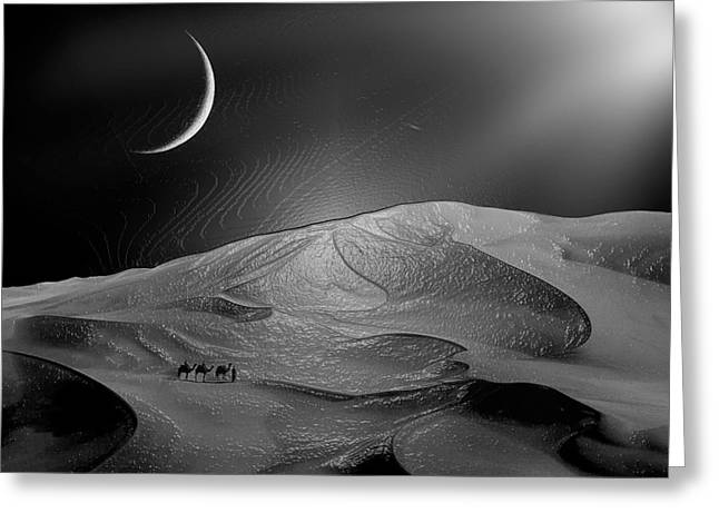 Sahara Sunlight Greeting Cards - Sand Dune at Moon Greeting Card by Scott Mendell