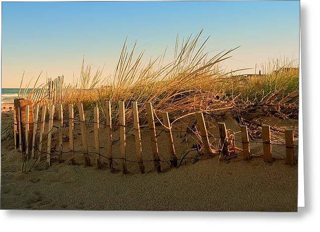 Best Sellers -  - Sunset Posters Greeting Cards - Sand Dune in Late September - Jersey Shore Greeting Card by Angie Tirado