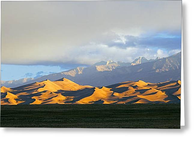Sand Dunes In A Desert With A Mountain Greeting Card by Panoramic Images