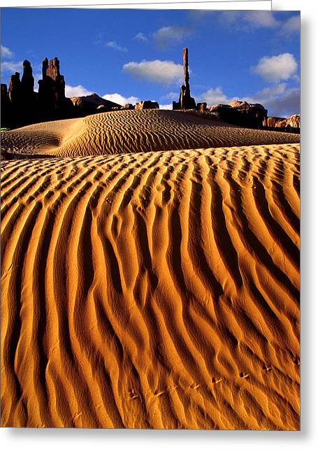 Dineh Greeting Cards - Sand Dunes Totem Pole and Yeh Beh Che Greeting Card by Dan Norris