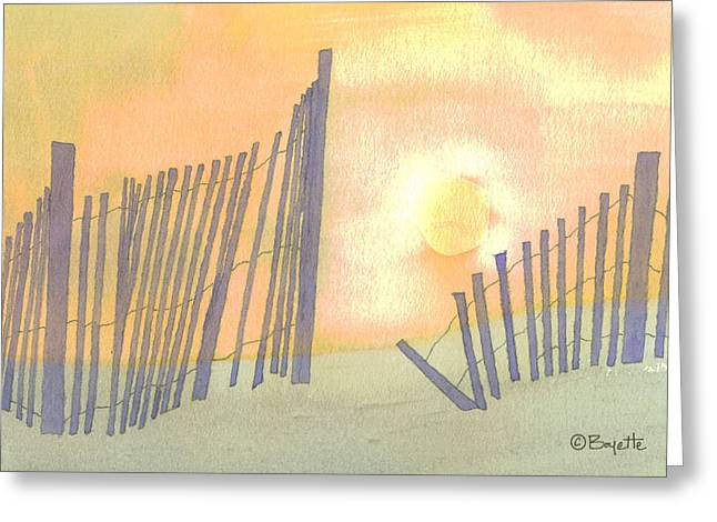 Sand Dunes Paintings Greeting Cards - Sand Fences Greeting Card by Robert Boyette