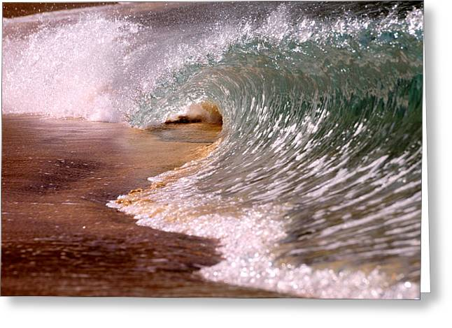 Blue Green Wave Greeting Cards - Sand Pit Greeting Card by Jim  Welch