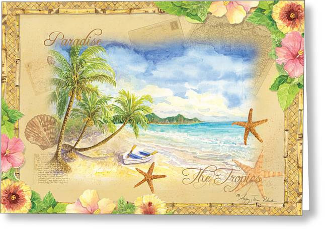 Beach House Decor Posters Greeting Cards - Sand Sea Sunshine on Tropical Beach Shores Greeting Card by Audrey Jeanne Roberts