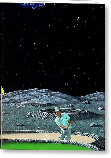 Craters Paintings Greeting Cards - Sand Trap Greeting Card by Snake Jagger