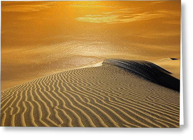 Sahara Sunlight Greeting Cards - Sand Water Greeting Card by Scott Mendell