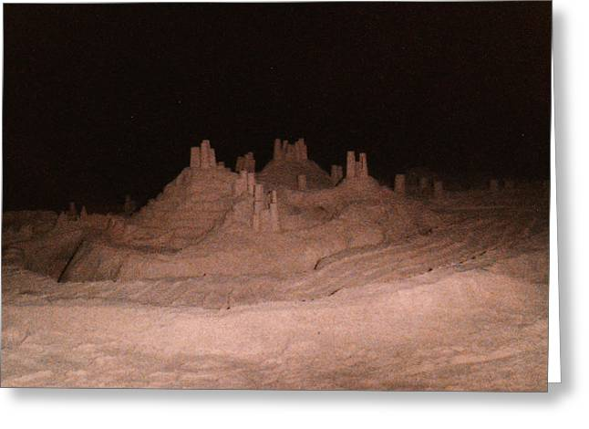Beach At Night Greeting Cards - Sandcastle at Night Greeting Card by Candace Shockley