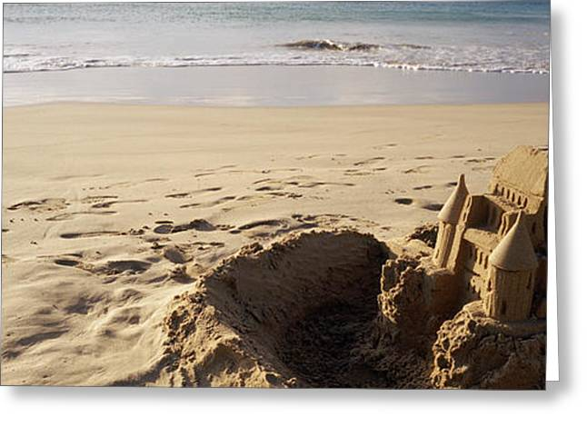 Island Imagination Greeting Cards - Sandcastle On The Beach, Hapuna Beach Greeting Card by Panoramic Images