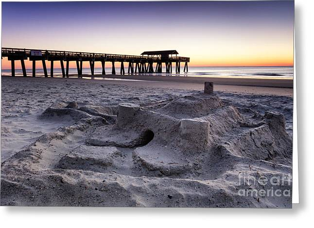 Sand Castles Greeting Cards - Sandcastle Sunrise Tybee Island Georgia Greeting Card by Dawna  Moore Photography