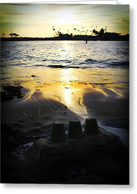 Ariane Moshayedi Greeting Cards - Sandcastle Sunset Greeting Card by Ariane Moshayedi