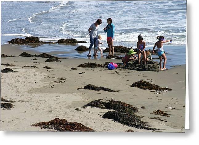 California Beach Greeting Cards - Sandcastles Pacific Coast California Beach Greeting Card by Sara Srubar-Erb