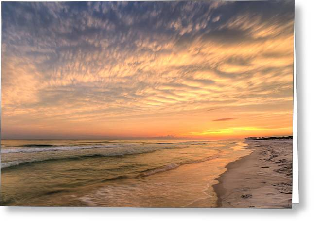 Blue Green Wave Greeting Cards - Sandestin Sunset Greeting Card by Gary Oliver