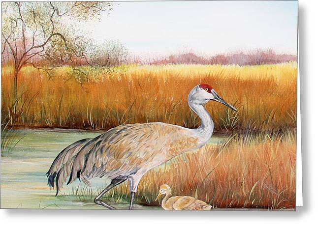 Willow Lake Greeting Cards - Sandhill Cranes-JP3162 Greeting Card by Jean Plout