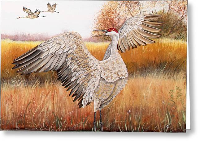 Willow Lake Greeting Cards - Sandhill Cranes-JP3163 Greeting Card by Jean Plout