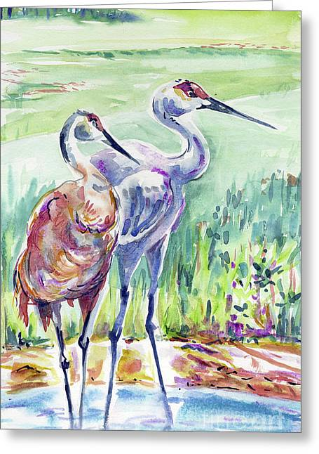 Sandhill Cranes Paintings Greeting Cards - Sandhill Cranes Greeting Card by Margaret Donat