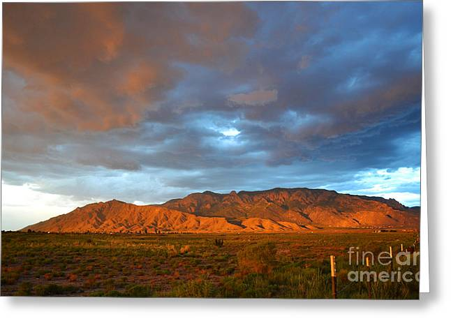 Sandias Greeting Cards - Sandia Mountains Colorful Sunset Greeting Card by Andrea Hazel Ihlefeld