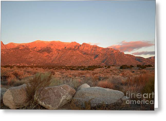 Sandias Greeting Cards - Sandia Mountains Sunset View Greeting Card by Andrea Hazel Ihlefeld