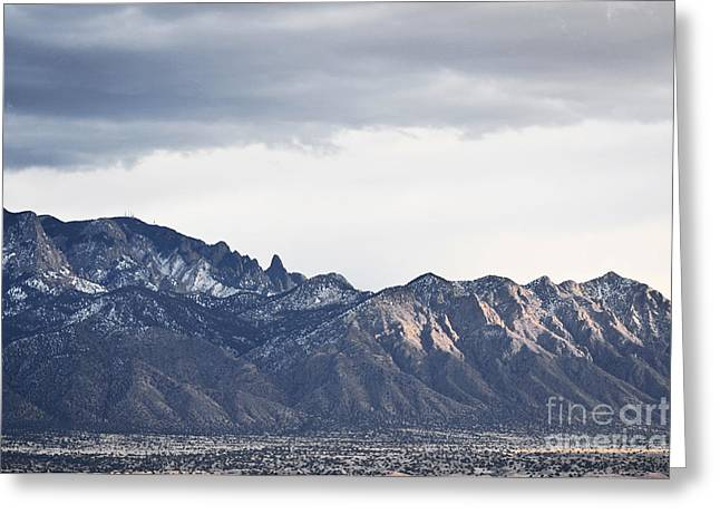 Sandia Mountains Greeting Cards - Sandia Mountains Winter Landscape Greeting Card by Andrea Hazel Ihlefeld
