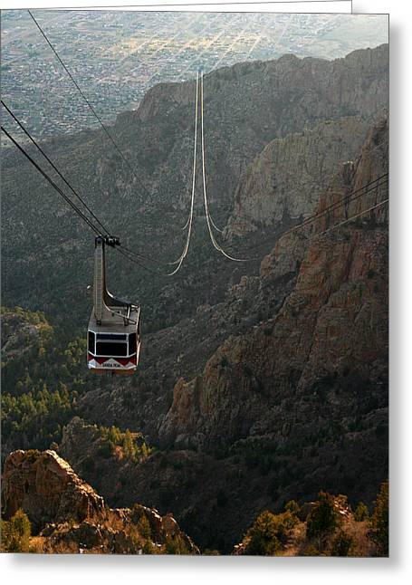 Albuquerque Greeting Cards - Sandia Peak Cable Car Greeting Card by Joe Kozlowski