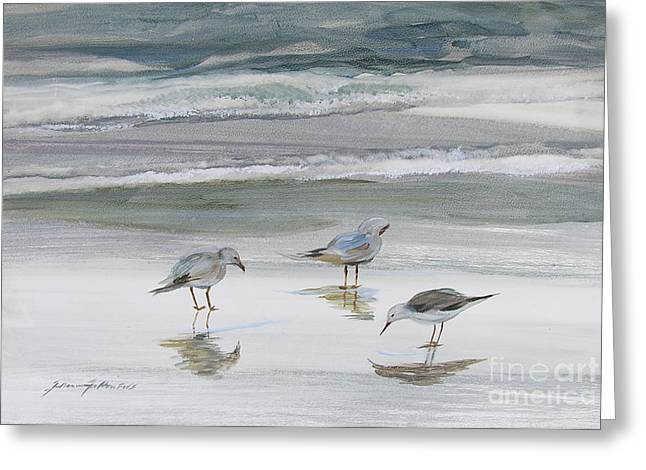 Reflective Greeting Cards - Sandpipers Greeting Card by Julianne Felton