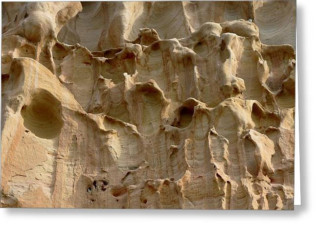 California Beaches Greeting Cards - Sandstone Cliff - 2 Greeting Card by Christy Pooschke