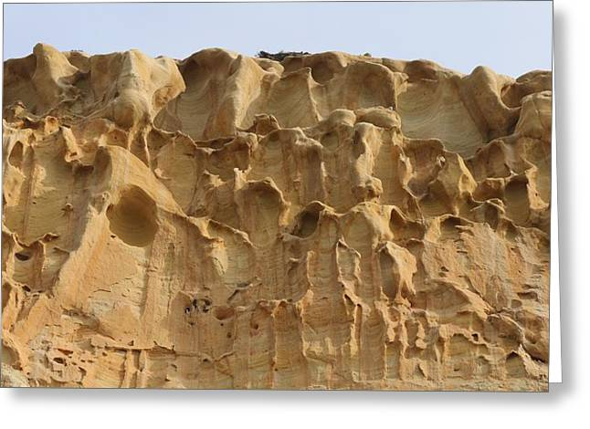 California Beaches Greeting Cards - Sandstone Cliff - 3 Greeting Card by Christy Pooschke
